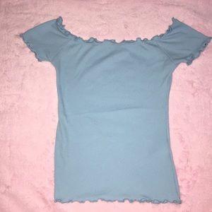 Baby blue slim off the shoulder Hollister top